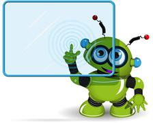 Green Robot and Screen - stock illustration