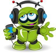 Robot Music Lover - stock illustration