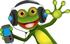 Frog In Headphones - stock illustration