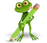 Stock Illustration of Frog with Pencil
