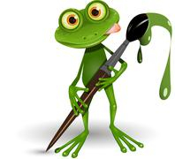 Frog with Paint Stock Illustration