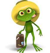 Frog with a Suitcase Stock Illustration