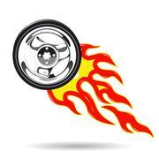 Wheel on Fire - stock illustration