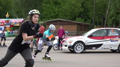 Rollerskater girls start participate in competition. 4K Stock Footage