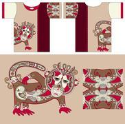 Stock Illustration of t-shirt design with unique decorative fantasy animal