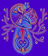 Ethnic folk art of peacock bird with flowering branch design Stock Illustration
