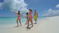 Loving male female Caucasian family enjoying tropical vacation Stock Footage