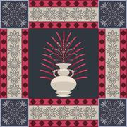 Oriental carpet vase and leaf decor element - stock illustration