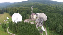 Stock Video Footage of Satellite antennas  array and communications tower