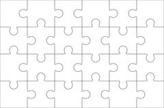 Jigsaw puzzle blank 6x4 elements, twenty four vector pieces. Stock Illustration