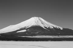 Stock Photo of Mt. Fuji winter season shooting from Lake Yamanaka. Yamanashi, Japan