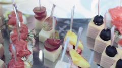 Canapes on holiday table. Wedding. - stock footage