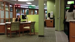 One side of worker inside TD Bank Stock Footage