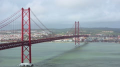 Traffic on the 25 de Abril Bridge in Lisbon Stock Footage