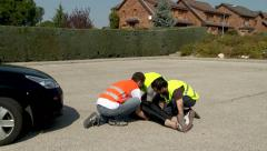Mobilization after a Bicycle accident - stock footage