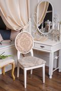 pastoral style bedroom mirror - stock photo