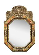 Antique mirror  with tapestry material surround isolated on white - stock photo