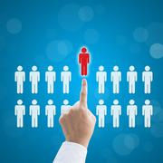 Stock Illustration of Select person career to work job business concept.