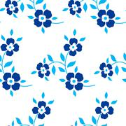 Stock Illustration of Seamless floral pattern. Blue flowers, leaves, foliage