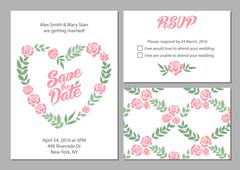 Wedding invitation card suite with daisy flower Templates and pattern Stock Illustration