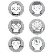 Halloween Monster  skulls such as  vampire, zombie, Woolf man - stock illustration