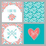 Stock Illustration of Set of Flower wedding invitation cards and 4 patterns, greeting, true love, i