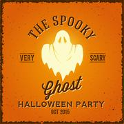 Stock Illustration of The Spooky Glowing Ghost Abstract Vector Vintage Poster, Card or a Label