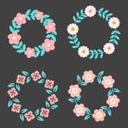 Floral Frame Collection. Cute retro flowers arranged un a shape of the wreath - stock illustration