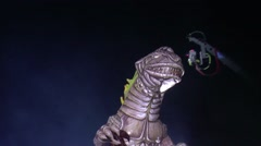 Floating plastic dragon in the night Stock Footage