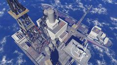 Oil rig at sea - stock illustration