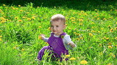 Cute toddler on flower field in sunny day Stock Footage