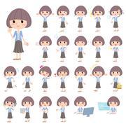 Mash hair blue cardigan women - stock illustration