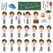 Western cuisine cook man Stock Illustration