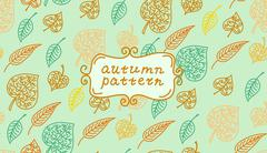 Leaves autumn pattern. In retro style. It contains simple forms of leaves. Color - stock illustration