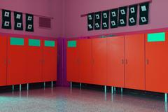 changing rooms and lockers of kindergarten for children - stock photo