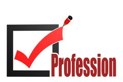 Check mark with profession word Stock Illustration