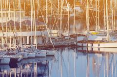 Yachts moored in the harbor on the Adriatic Sea, Pula, Croatia Stock Photos