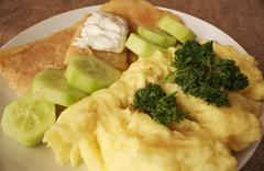 mashed potatoes fried cheese tartar sauce detail - stock photo