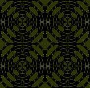 Seamless circle pattern olive green black Stock Illustration