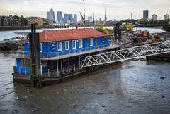 House boats on the River Thames - stock photo