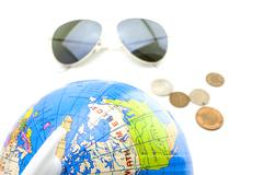 Around the world with sunglasses and some money Stock Photos