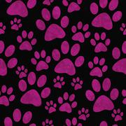 Pink and Black Dog Paw Prints Tile Pattern Repeat Background - stock illustration
