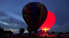 Hot Air Balloons At Night Glow Event 04 Stock Footage