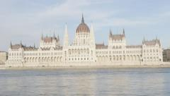 Hungarian parliament building in Budapest near river Danube 4K 2160p 30fps Ul Stock Footage