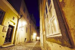 Empty old street at night - Prague, Czech Republic - stock photo