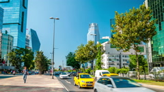 Istanbul - Car traffic in Buyukdere avenue (Levent, business district) - stock footage