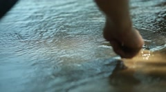 hand drawn heart of the oncoming wave, a reflection, sand - stock footage