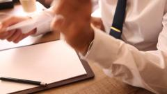 Businessman received empty sheet of paper and teared it Stock Footage
