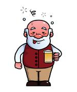 Old man being drunk - stock illustration