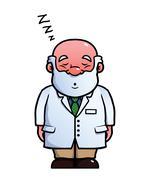 Scientist sleeping and snoring Piirros